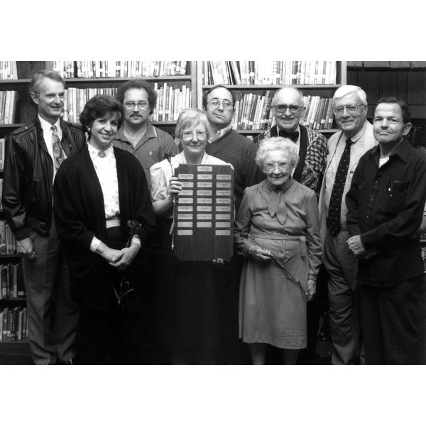 1991 - Lifetime Friends of the Library - Front Row: Andrea Johnson, Joanne Andrus, Adele Brue - Back Row: John Englesby, Robert Newbegin, Thomas Ecker, Devon Andrus, Col. Steve Clark, Oliver Kessenich