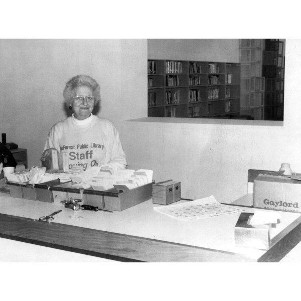 Arline Johnson at the circulation desk