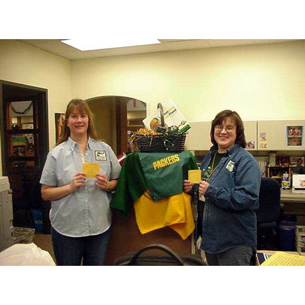 2008 - Traci & Linda - Thank you to the Green Bay Packers for donating a prize for our winter reading program
