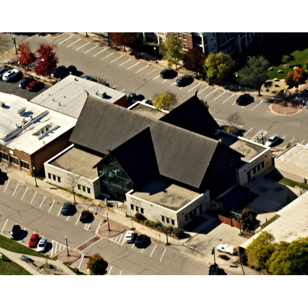 2014 - Aerial photograph of the library taken by Tom Thomas
